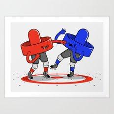 Air Hockey Brawl Art Print
