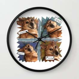My Dog Says: Laughter, Love, Music, and Pizza! - Blue & Brown Palette Wall Clock