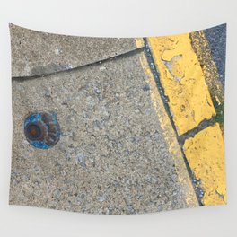 Blue Water Yellow Line Wall Tapestry