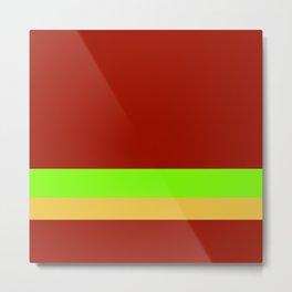 Solid Chestnut Red w/ Lime Green and Solid Light Orange Divider Lines Metal Print