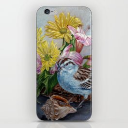 Floral still life with sparrow, bumble bee, butterfly, and sea shells iPhone Skin