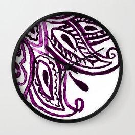Purple Henna Watercolor Lace Design Wall Clock