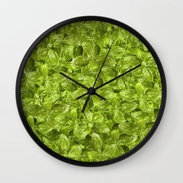 Basil Leaves Pattern Wall Clock