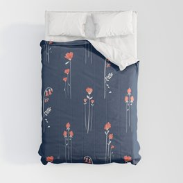 Retro Dark Flower Pattern in Modern Navy and Coral Comforters