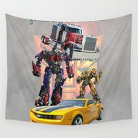 transformers Wall Tapestries featuring Transformers autobot bumblebee optimus prime truck best for birthday and Christmas gift by customgift