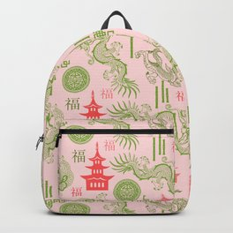 Pink and Green Chinoiserie Backpack