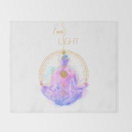 I am Light   Modern Energy Art   Meditation Spiritual Illustration  Throw Blanket