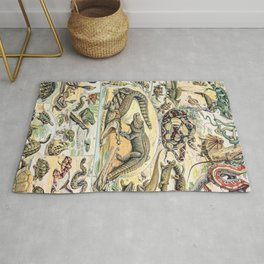 Reptiles by Adolphe Millot // XL 19th Century Snakes Lizards Alligators Science Textbook Artwork Rug