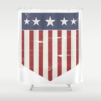 flag Shower Curtains featuring Flag by Emma Harckham