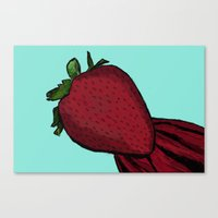 strawberry Canvas Prints featuring Strawberry  by The Bohemian Bubble