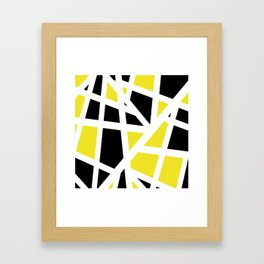 Abstract Interstate  Roadways Black & Yellow Color Framed Art Print