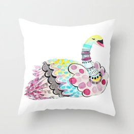 Patterned Swan Throw Pillow