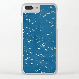 Paint Spatter - Orange Sherbet Shimmer on Saltwater Taffy Teal Clear iPhone Case