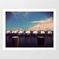 Boats at Hatteras. Art Print