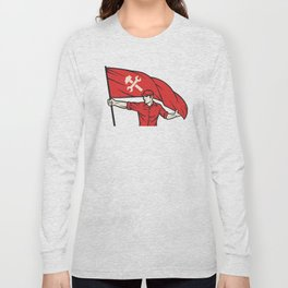worker holding a flag - industry poster (design for labor day) Long Sleeve T-shirt