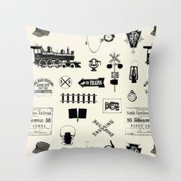 Railroad Symbols // Beige Throw Pillow