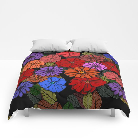 Abstract #393 Flower Power #4 Comforters