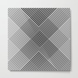 Minimal Abstract Triangles Geometry Black White Metal Print