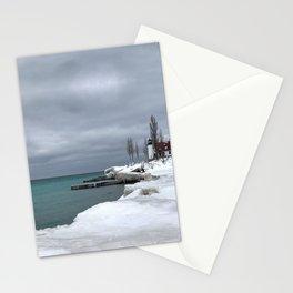 Point Betsie Lighthouse - Frozen Beach - Northern Michigan - Up North - frozen waves Stationery Cards
