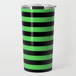 Stripes (Black & Green Pattern) Travel Mug