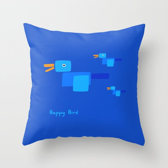 Blue Bird Throw Pillows : Happy Bird-Blue Throw Pillow by Ts55 Society6