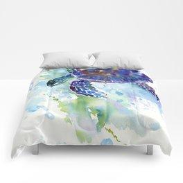 Happy Sea Turtle, aquatic marine blue purple turtle illustration Comforters