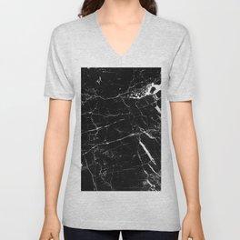 Black and White Marble Unisex V-Neck