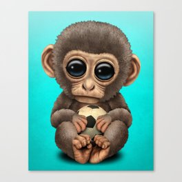 Cute Baby Monkey With Football Soccer Ball Canvas Print