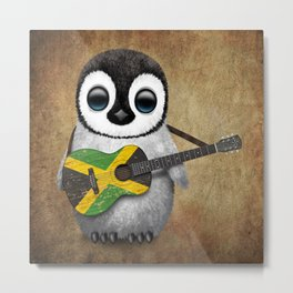 Baby Penguin Playing Jamaican Flag Guitar Metal Print