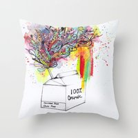 vegan Throw Pillows featuring Vegan Victory by Sam Corona