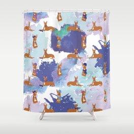 Pharaoh Hounds Pattern Splatters Shower Curtain
