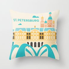 St. Petersburg Fountains Throw Pillow