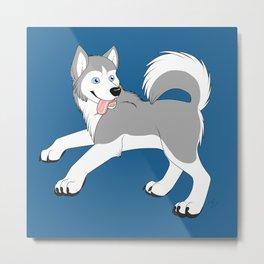Husky (Silver and White) Metal Print