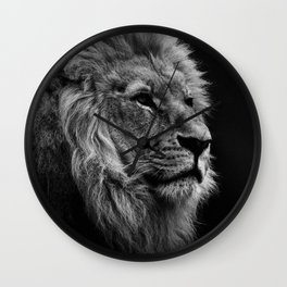 Black Print Lion Wall Clock