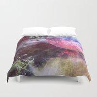 lunar Duvet Covers featuring Lunar Strain by Shipwreck Moon Designs