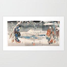 Japanese Vintage Kunisada Hiroshige Snowy Landscape Art Print