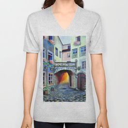Vintage Retro Luxembourg in a Bohemian Style Unisex V-Neck