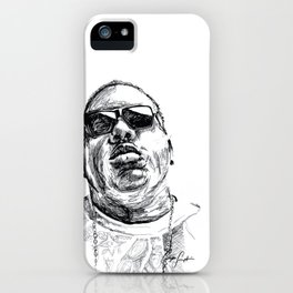 Digital Drawing 33 - Notorious B.I.G. Black and White iPhone Case