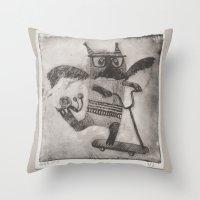 sport Throw Pillows featuring Sport cat by KRADA ZHAN ART