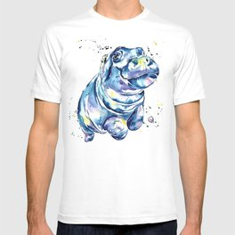 Hippo Colorful Watercolor Hippo Painting - Grace T-shirt