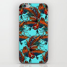 rooster ink turquoise iPhone Skin
