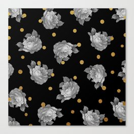 Roses and Gold Dots Canvas Print