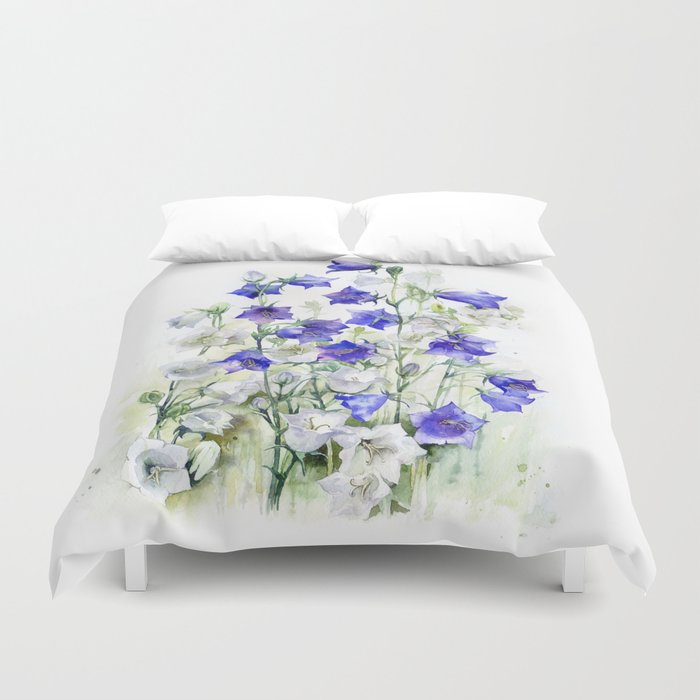 Bluebells watercolor flowers, aquarelle bellflowers Duvet Cover