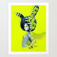 bunny Art Prints featuring bunny by el brujo