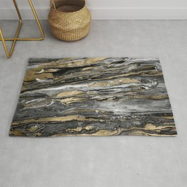 Stylish gold abstract marbleized paint Rug