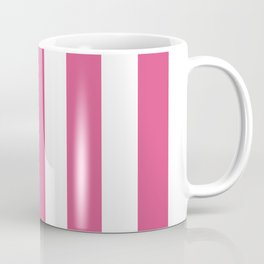 Fandango pink - solid color - white vertical lines pattern Coffee Mug