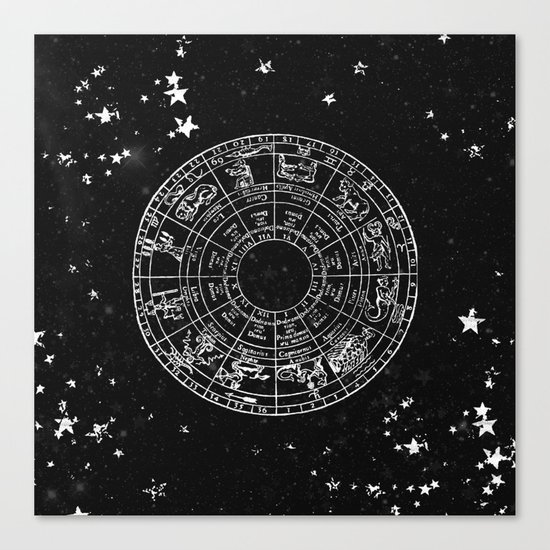 Black and White Vintage Star Map Canvas Print