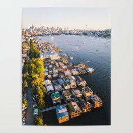 Houseboats on Lake Union Poster
