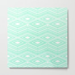 Hipster Mint Green Arrows Aztec Tribal Pattern Metal Print