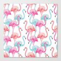 flamingo pink and blue watercolor seamless pattern by anyuka